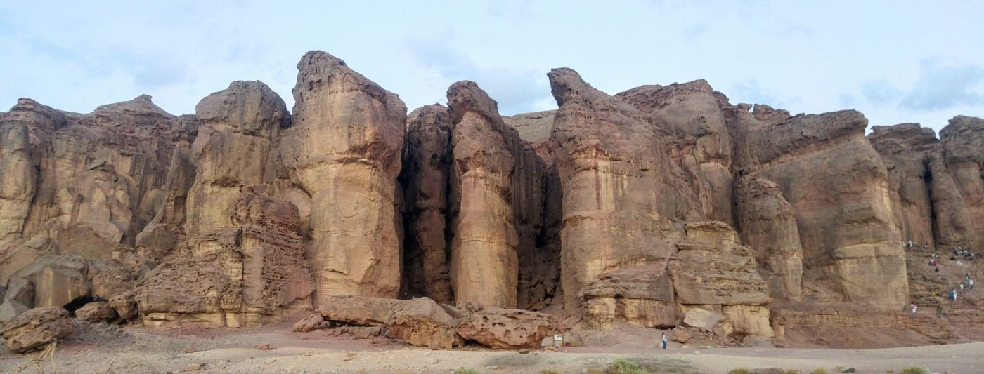 Timna pillars at sunset during yoga Arava
